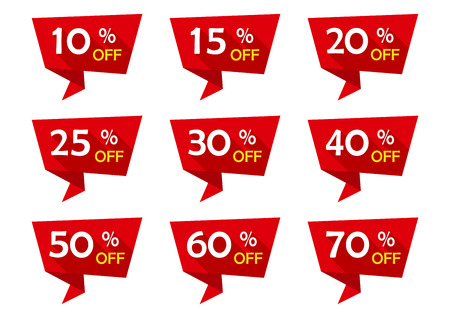 Red set of advertising tag ribbons with different discount offers. Sale badges. Vector illustration