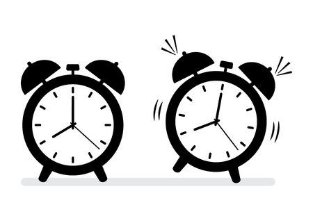 Black and white alarm clock icons. Vector illustration