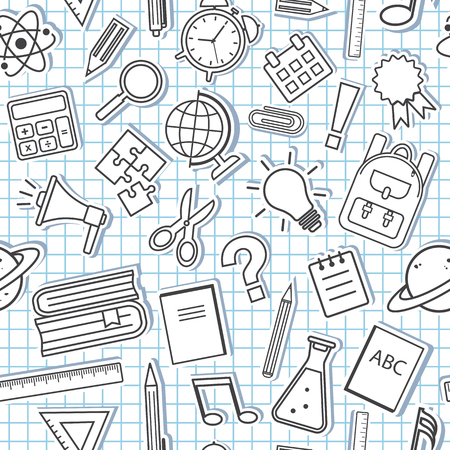 Seamless pattern with school supplies on checkered background. Vector illustration