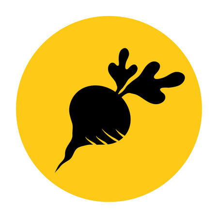 Beet or radish icon. Icon from the set. Black silhouette on bright yellow background. Vector illustration Illustration