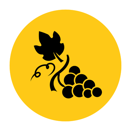 Grape icon. Icon from the set. Black silhouette on bright yellow background. Vector illustration