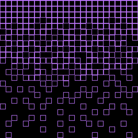 Abstract geometric pattern with bright purple squares on black background. Vector illustration Illustration
