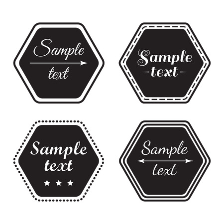 Set of shop sign template, black and white signboards. Vector illustration