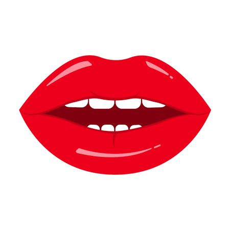 Red lips icon isolated on white background. Vector illustration Иллюстрация
