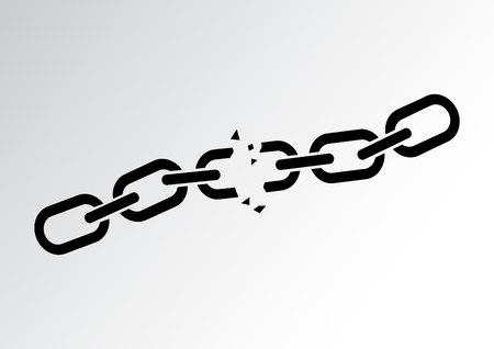 Broken chain. Vector illustration