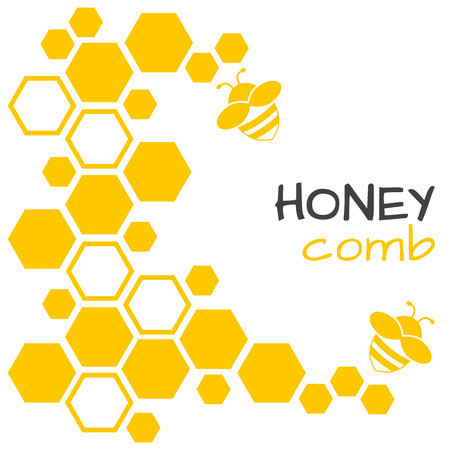 Honey abstract background with honeycomb and bee. Vector illustration.