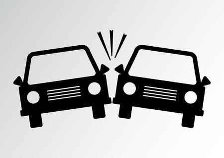 Car accident icon. Black silhouettes. Vector illustration