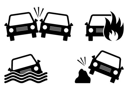 Set of car accident icons. Black silhouettes. Vector illustration
