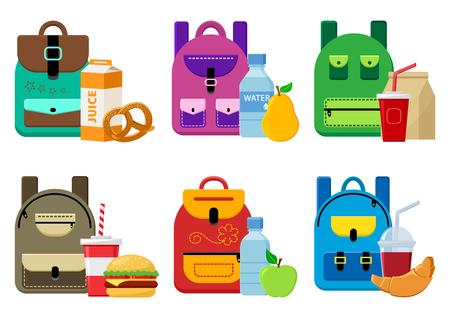 Mochilas escolares y comida para el almuerzo. Ilustración vectorial Ilustración de vector