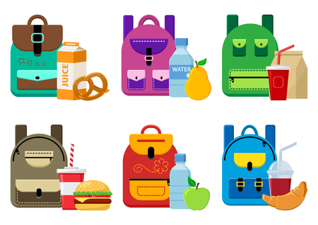 School backpacks and lunch food. Vector illustration