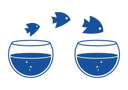 Fishs jumping out one aquariums to another aquarium. Blue silhouettes. Vector illustration