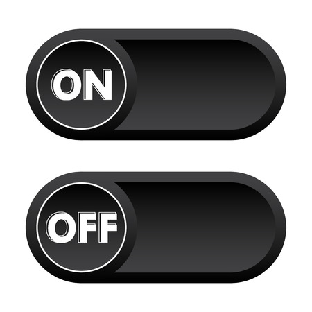 Black buttons ON, OFF. Vector illustration