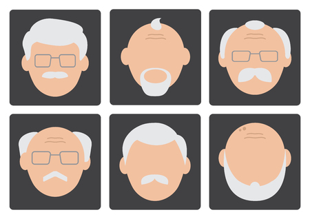 Flat set of face old men on gray background, avatar. Vector illustration