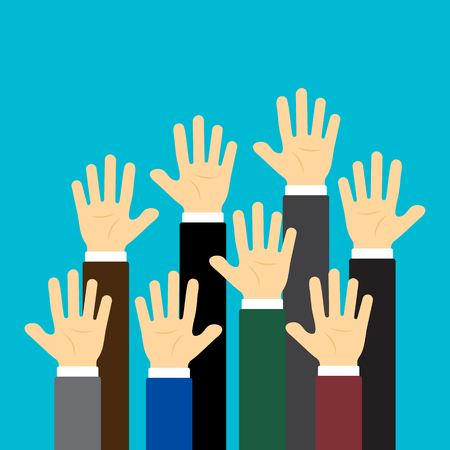 Raised up hands on blue background. Business concept. Vector illustration Illustration