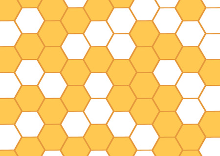 Honey abstract background with yellow honeycombs. Hexagonal cell. Vector illustration.