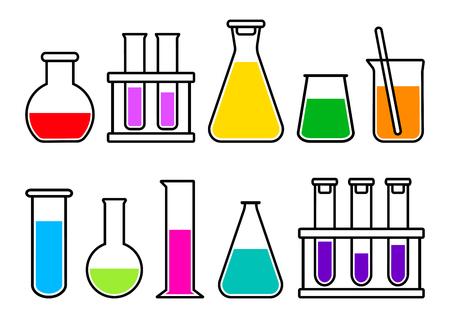 Equipo de laboratorio químico con líquido colorido. Ilustración vectorial Ilustración de vector