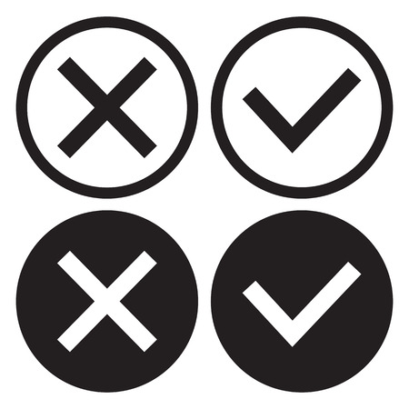 Set of black and white icon buttons, outline and flat design. Confirmation and rejection. Yes and no. Vector illustration. Illustration