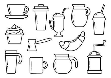 Set of coffee theme. Outline design. Vector illustration