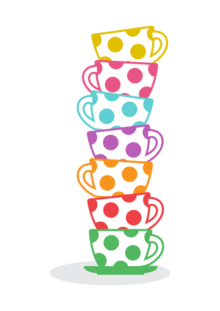 Stack of colorful cups. Vector illustration