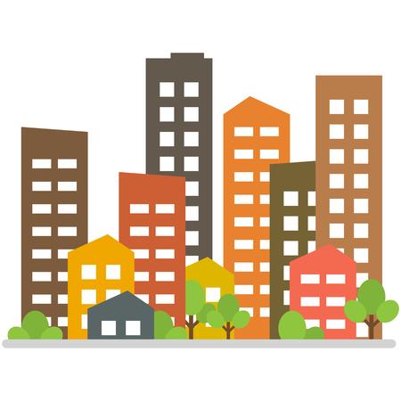 Cityscape. City modern buildings, housing district, town homes. Vector illustration Vetores