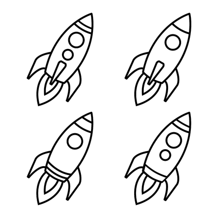 Start up. Set of rocket icons. Rocket launch. Outline design. Vector illustration