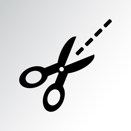 Black scissors with cut lines. Coupon cutting icon. Vector illustration