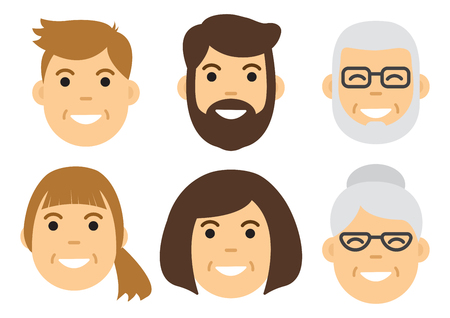 People icon. Male and female faces. Vector illustration