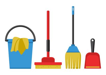 Juego de kit de limpieza. Ilustración vectorial