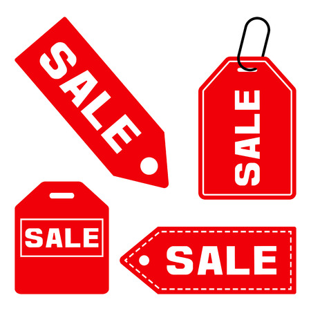 SALE. Set of price tag icon. Red signs isolated on white background. Vector illustration Illustration