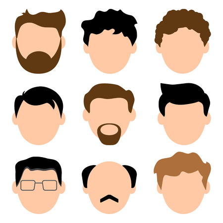 Colored set of avatars, faces of men. Young and old. Male characters. Vector illustration