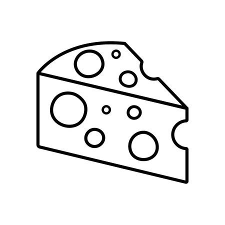 Cheese icon. Black outline design. Vector illustration Illustration
