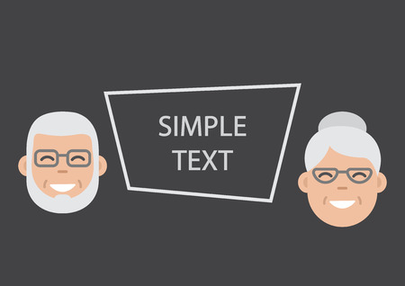 Face old man and woman, grandfather and grandmother. Frame for your text. Vector illustration