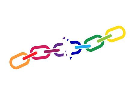 Broken colorful chain. Vector illustration Vector Illustration
