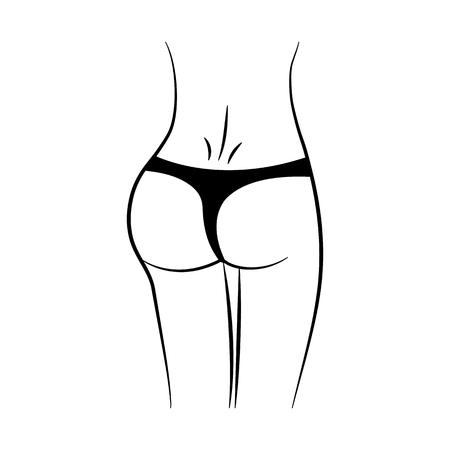 Women waist. Silhouette of female figure. Black outline design. Vector illustration Illustration