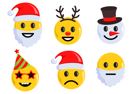 Holiday set of Christmas emoticon icons. Vector illustration
