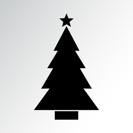 Christmas tree icon on gray background. Vector illustration