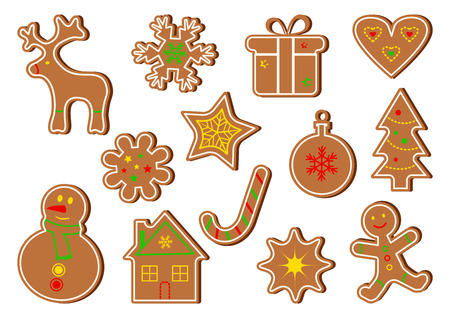 Colored set of ginger cookies. Vector illustration