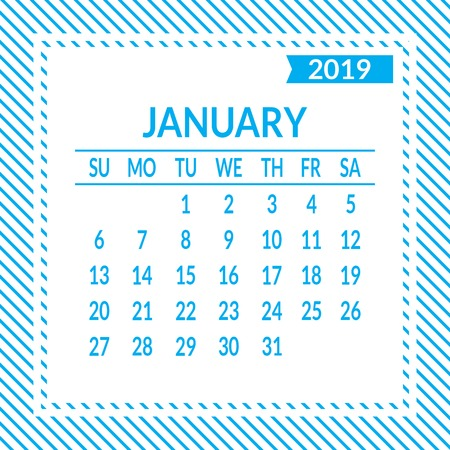 January. First page of set. Calendar 2019, template. Week starts from Sunday. Vector illustration