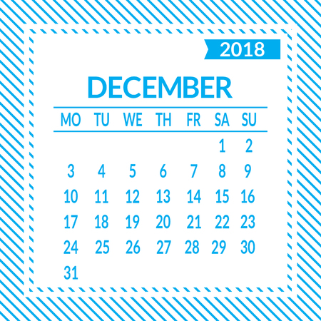 December. Twelfth page of set. Calendar 2018, template. Week starts from Monday. Vector illustration