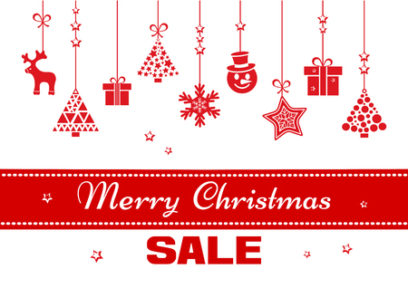 Festive banner for Christmas with red ribbon, toys hanging and inscription SALE. Vector illustration