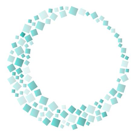 Cornice rotonda con quadrati verdi, sfondo geometrico. Illustrazione vettoriale
