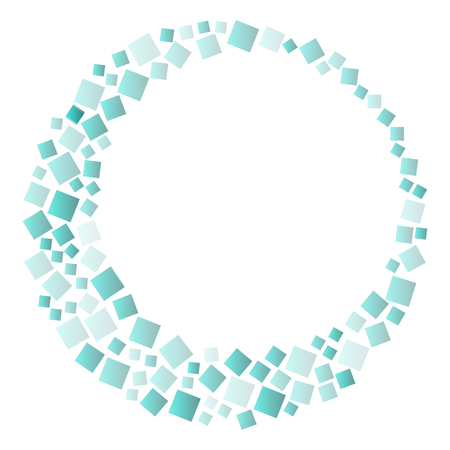 Round frame with greenn squares, geometric background. Vector illustration