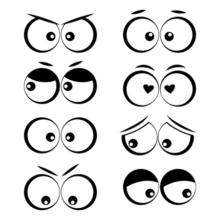 Collection of cartoon eyes with different emotions. Vector illustration Illustration