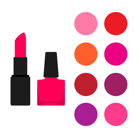 Lipstick and nail polish bottle. Set of color swatches. Vector illustration
