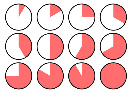 Set of clock icons showing different time. Red segments. Vector illustration  イラスト・ベクター素材