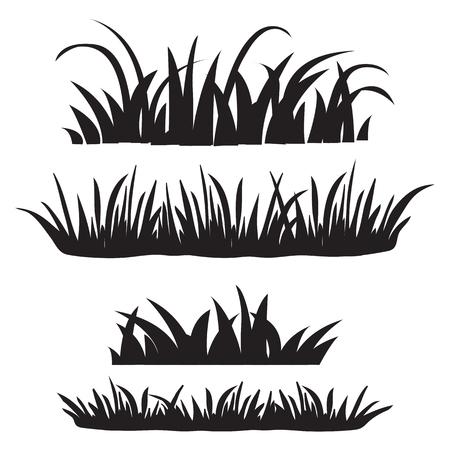 Ensemble d'herbe, silhouettes noires isolées sur fond blanc. Ensemble d'éléments de conception de la nature. Illustration vectorielle