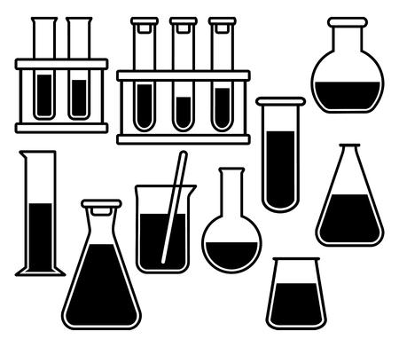 Set of black chemical flasks. Vector illustration Ilustración de vector
