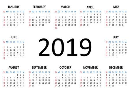 Calendar 2019. Week starts from Sunday. Vector illustration