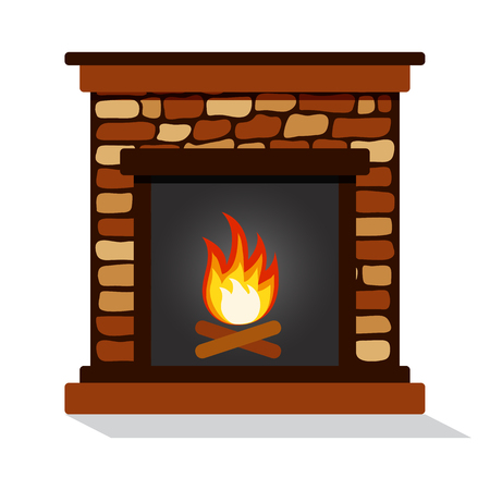 Burning fireplace. Vector illustration
