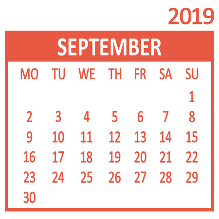 September. Ninth page of set. Calendar 2019, template. Week starts from Monday. Vector illustration
